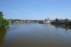 Panoramic view of Prague - Czech Republic - Europe. Panoramic view of Praga . The Charles bridge - Moldava river Royalty Free Stock Photos