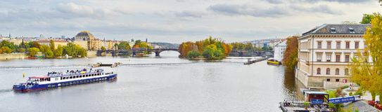 Panoramic view of Prague, Czech Republic, on the shore of Vltava. Situated in the northwest of the country on the Vltava River, Prague is the capital and the stock photo