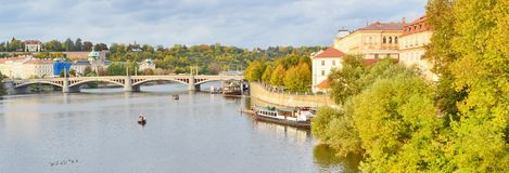 Panoramic view of Prague, Czech Republic, on the shore of Vltava. Situated in the northwest of the country on the Vltava River, Prague is the capital and the royalty free stock image