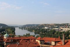 Panoramic view of Prague Czech Republic and Vltava river from Visegrad fortress royalty free stock photos