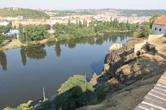 Panoramic view of Prague Czech Republic and Vltava river from Visegrad fortress stock photography
