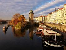 A panoramic view of Prague stock photo