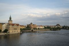 A panoramic view of Prague. A panoramic view of Moldava river in the center of the city at sunset in Prague, Czeche Republic Stock Photography