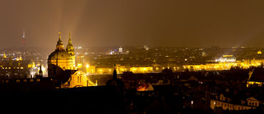 Panoramic view of Prague at night Stock Image