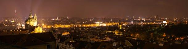 Panoramic view of Prague. At night Stock Photo