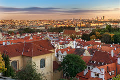 Panoramic view on Prague from the Prague Castle Royalty Free Stock Photography