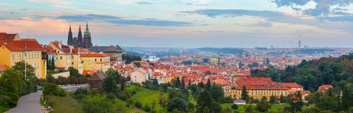 Panoramic view of Prague with Prague Castle Stock Photography