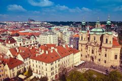 Panoramic view of Prague roofs and domes. Czech Republic. Europe. royalty free stock photography