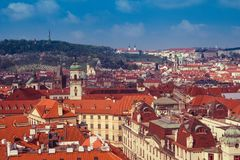 Panoramic view of Prague roofs and domes. Czech Republic. Europe. stock images