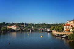Panoramic view of Prague on spring day. Popular tourist destination in Prague. Beautiful panoramic view of Prague on a sunny spring day Stock Image
