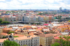 Panoramic view of Prague on a sunny day Stock Image