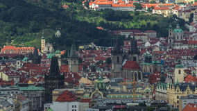 Panoramic view of Prague timelapse from the top of the Vitkov Memorial, Czech Republic stock footage