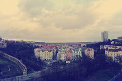 Panoramic view on Prague from the top of Vysehrad fortress Stock Image