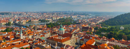 Panoramic view of Prague with Vltava river Stock Images