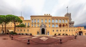 Panoramic view of the Prince`s Palace on Palace Square in Monaco royalty free stock photos