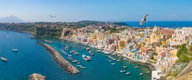 Panoramic view of Procida Island in sunny summer day, Italy stock photo