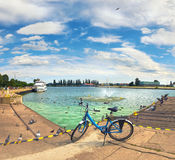 Panoramic view from promenade in Swinoujscie, Poland Stock Images