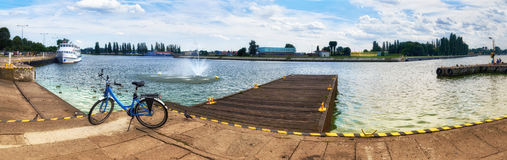Panoramic view from promenade in Swinoujscie, Poland Royalty Free Stock Photos