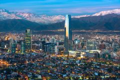 Santiago de Chile skyline at night. Panoramic view of Providencia and Las Condes districts with Costanera Center skyscraper, Titanium Tower and Los Andes Royalty Free Stock Photo
