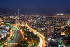 Panoramic view of Providencia and Las Condes districts, Santiago. De Chile royalty free stock photos