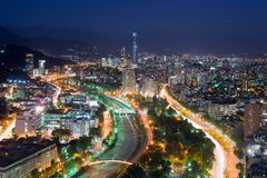 Panoramic view of Providencia and Las Condes districts. Santiago de Chile Royalty Free Stock Image