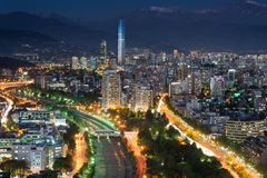 Panoramic view of Providencia and Las Condes districts, Santiago. De Chile royalty free stock images