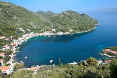 Panoramic view of the Prozura bay, island  Mljet Stock Image