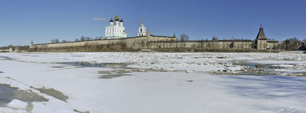 Panoramic view of Pskov Kremlin Royalty Free Stock Images