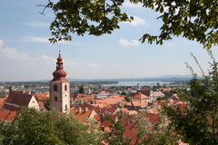 Panoramic view from Ptuj Castle over  Drava river Royalty Free Stock Images