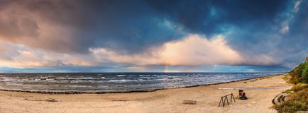 Panoramic view on a public autumnal beach in Jurmala Stock Photography