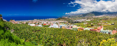 Panoramic view of Puerto De La Cruz valley royalty free stock images