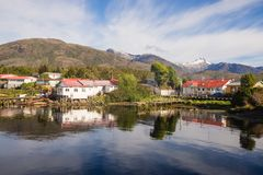 Panoramic view of Puerto Eden, south of Chile. Patagonia fjords of chile stock photography