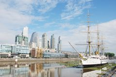 Panoramic view of Puerto Madero and the women bridge Puente de la Mujer royalty free stock photo