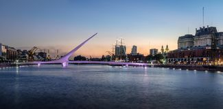 Panoramic view of Puerto Madero and Womens Bridge - Buenos Aires, Argentina stock photography