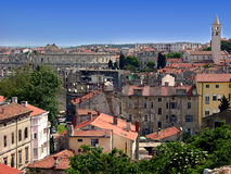 Panoramic view at Pula city in Croatia with arena Stock Photography