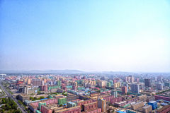 Panoramic view of Pyongyang in the morning. DPRK - North Korea. Royalty Free Stock Photos