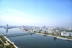 Panoramic view of Pyongyang in the morning. DPRK - North Korea. May 02, 2017 Royalty Free Stock Photos