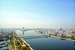 Panoramic view of Pyongyang in the morning. DPRK - North Korea. May 02, 2017 Royalty Free Stock Images