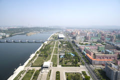 Panoramic view of Pyongyang in the morning. DPRK - North Korea. Royalty Free Stock Image
