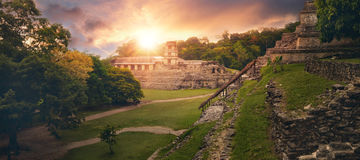 The panoramic view pyramid of Palenque. stock images