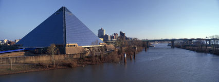 Panoramic view of the Pyramid Sports Arena in Memphis, TN with statue of Ramses at entrance Stock Photos