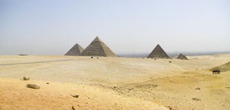 Panoramic view of the Pyramids of Giza Stock Photography