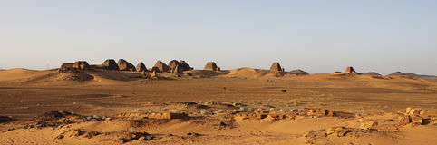 Panoramic view of the pyramids at Meroe. Ruined pyramids of Meroe, Sudan Royalty Free Stock Images