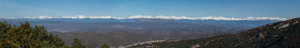 Panoramic view of pyrenees mountains Royalty Free Stock Images
