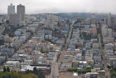 Panoramic view on quarters of old San Francisco Stock Photos