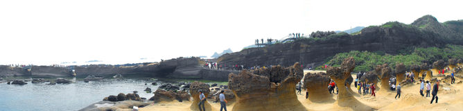 Panoramic view of Queen Head Rock in Yehliu Geopark Stock Image