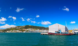 Panoramic view from the Queens wharf (Harbor ferry Terminal) on the Oriental Bay. Wellington city Stock Photography