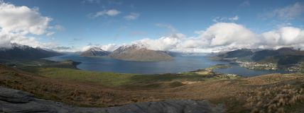 Panoramic View of Queenstown. Panoramic view over Queenstown, New Zealand Royalty Free Stock Images