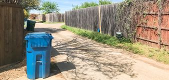Panoramic view quiet back alley in residential area near Dallas, Texas royalty free stock images