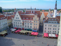 Panoramic View of Raekoja Plats in the Old Town of Tallinn Royalty Free Stock Image